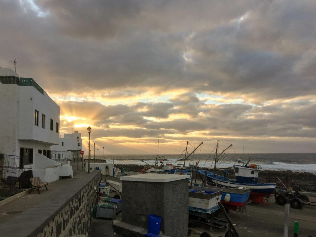 Sunset at La Santa Harbour, Lanzarote, Canary Islands, Spain