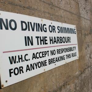 No Diving Sign, Whitehills Marina
